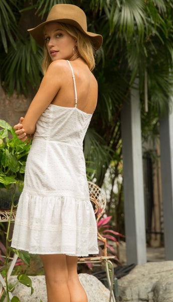 White Linen and Lace Boho Dress