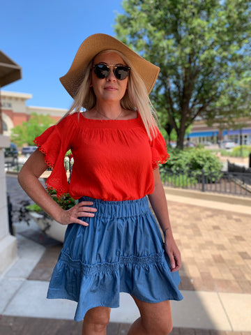 Denim Tiered Ruffle Skirt