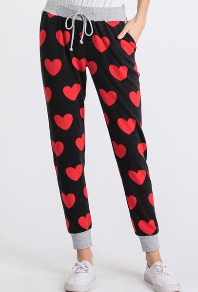 Light Weight Red And Black Heart Joggers (Bottoms To Set)