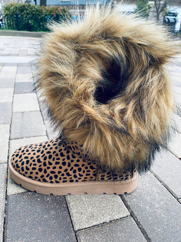 Fuzzy Leopard Boots