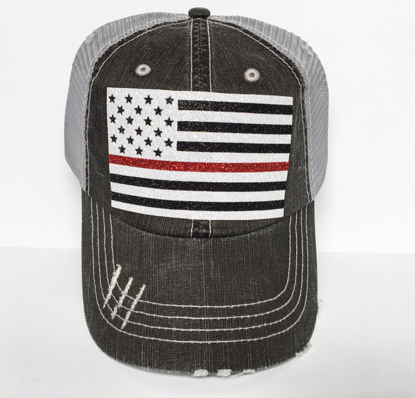 AMERICAN FLAG THIN RED LINE HAT