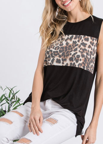 Black Animal Print Block Tank
