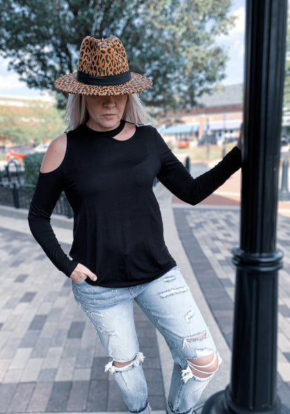 Solid Black Shoulder & Neck Cut Out Top
