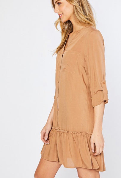 Ginger Linen Texture Ruffle Dress