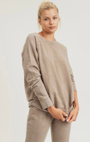 Mushroom Mineral Wash Thermal Pullover