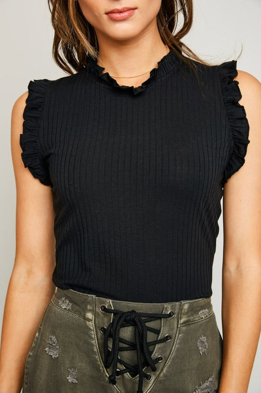 RUFFLED MOCK NECK TANK (black)