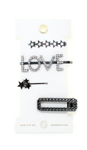 Fancy Barrette Set - LOVE