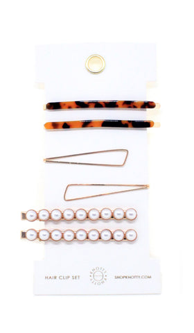 Fancy Barrette Set - TORTOISE