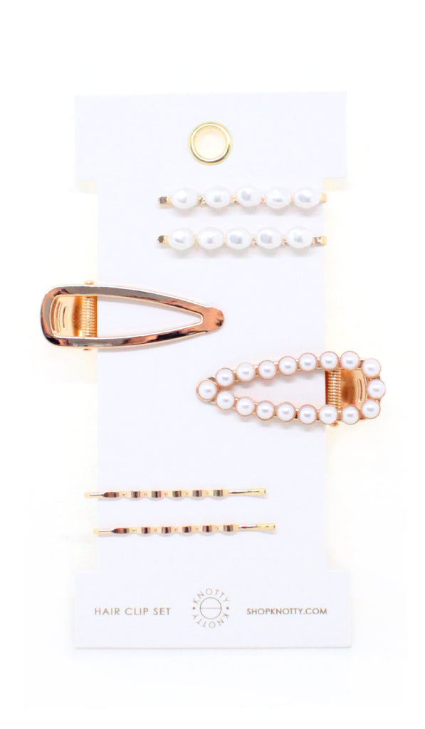 Fancy Barrette Set - PEARL - Knotty
