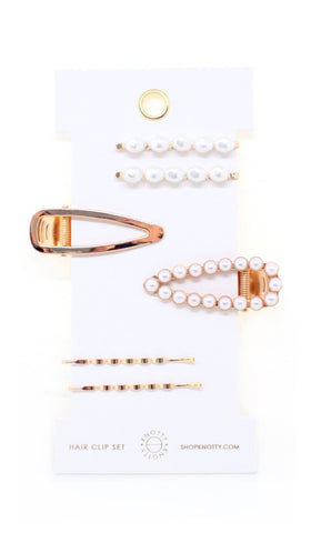 Fancy Barrette Set - PEARL