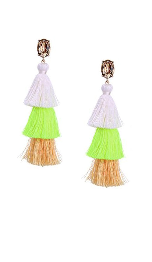 Crystal Layered Tassel Earrings | Tangerine/Neon Yellow/White/Topaz - Knotty
