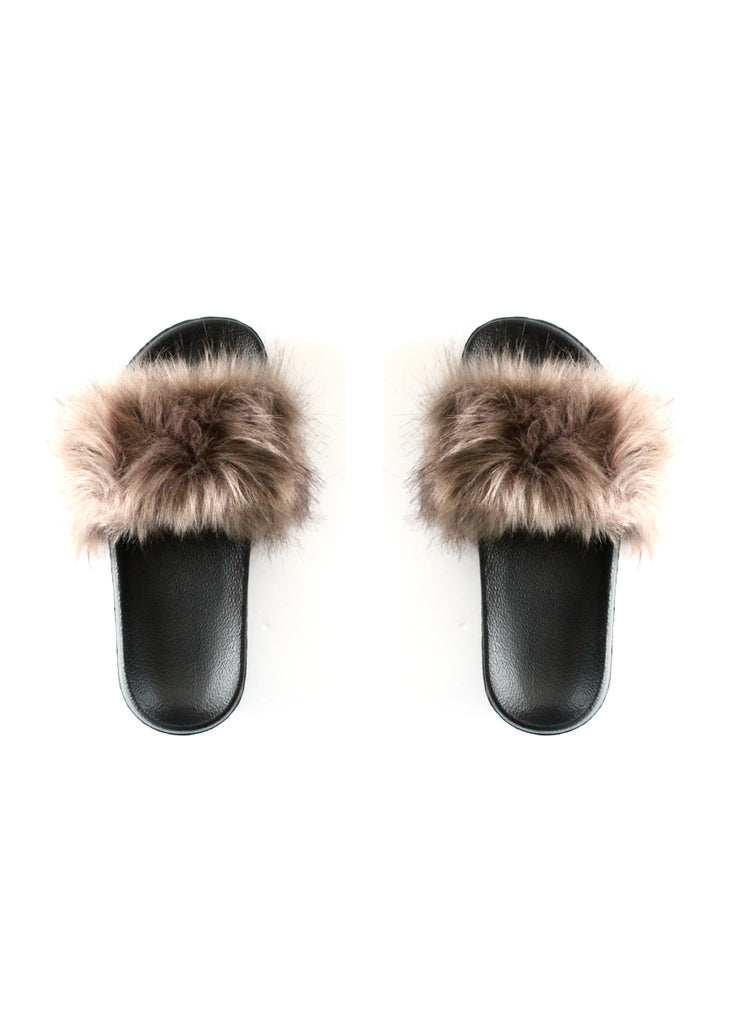 Faux Fur Slides | Taupe - Knotty