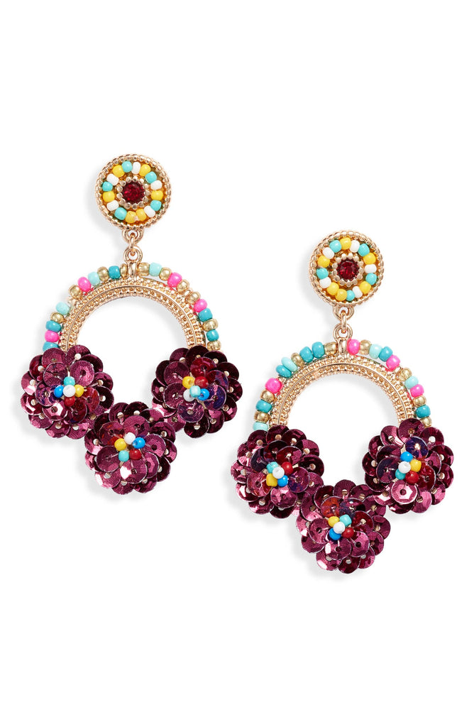 Beaded Floral Drop Earrings - Knotty