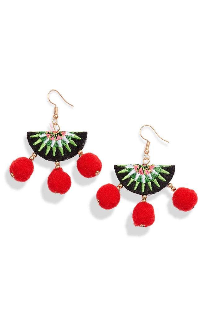 Embroidered Pom Pom Earrings - Knotty