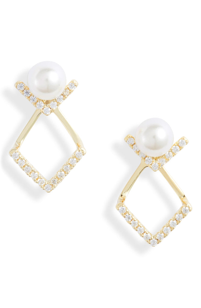 Pearl V Jacket Stud Earrings | More Colors Available - Knotty