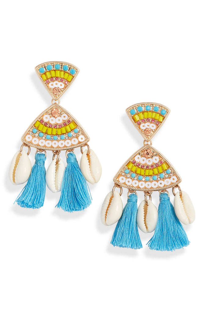 Tassel Shell Statement Drops - Knotty