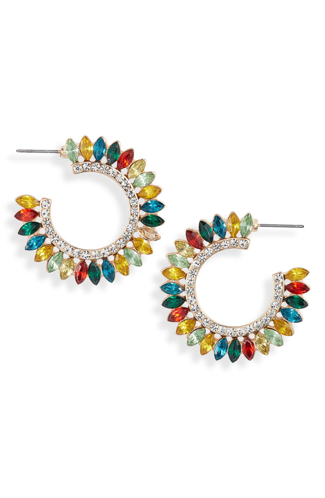 Crystal Fan Statement Hoops - Knotty