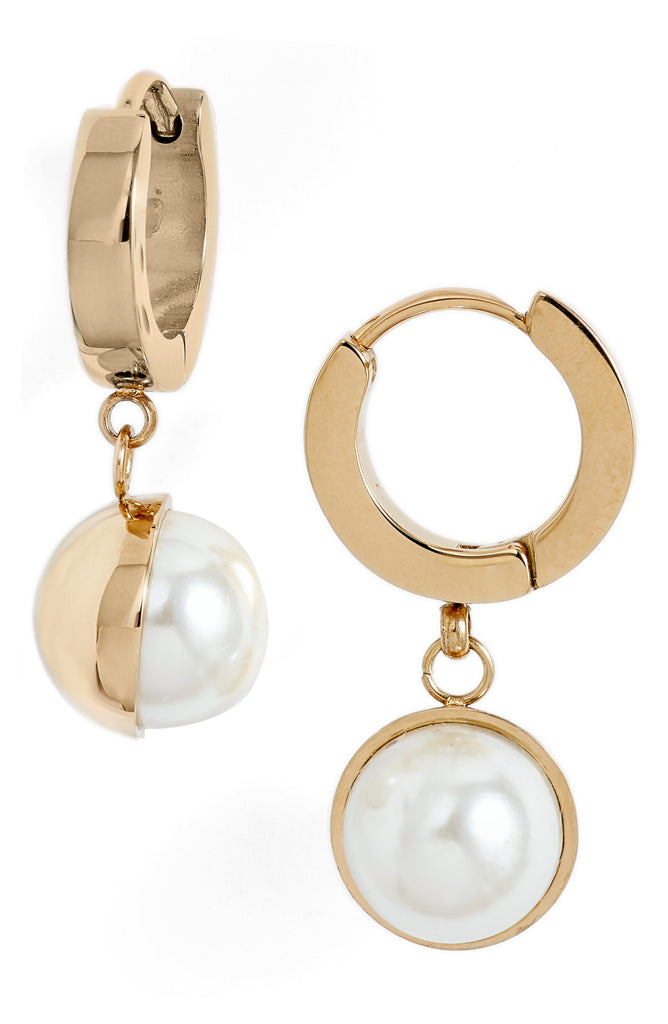 Pearl Huggie Drop Earrings - Knotty