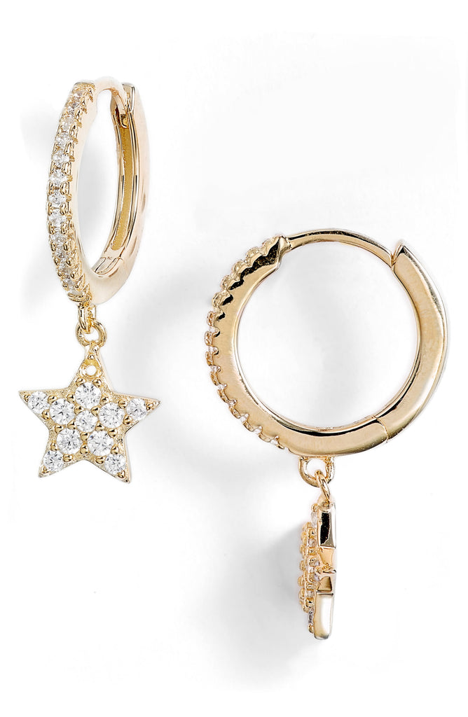 Pave Star Huggie Drop Earrings | More Colors Available - Knotty