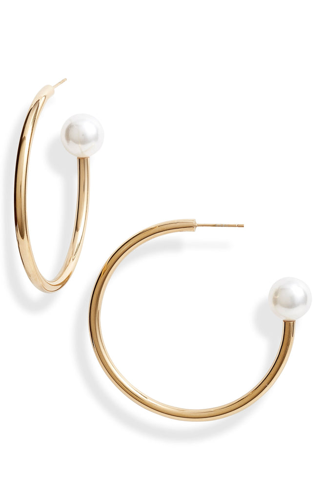 Pearl End Hoop Earrings | More Colors Available - Knotty