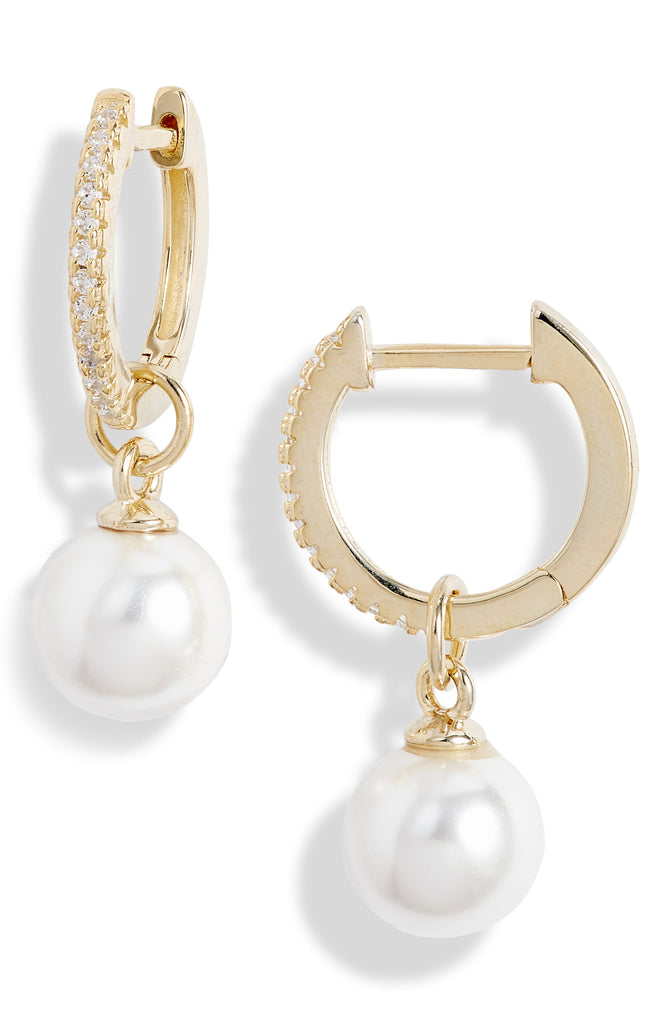 Pave Pearl Huggie Drop Earrings - Knotty