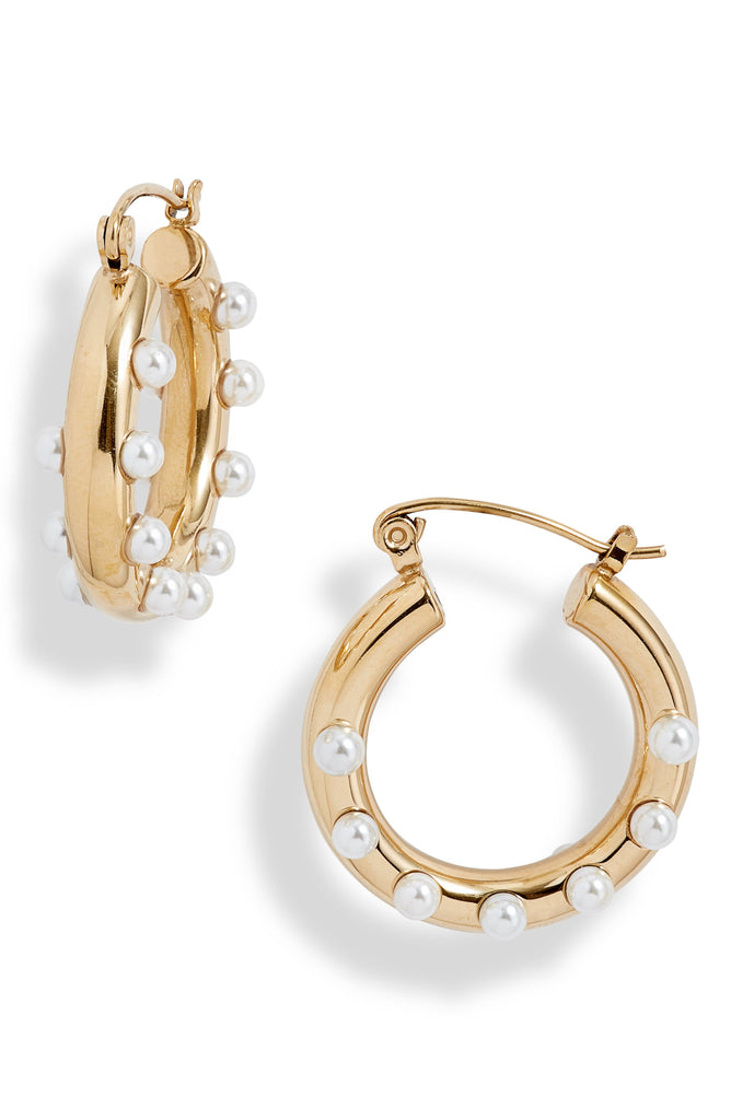 Pearl Dot Mini Tube Hoop Earrings - Knotty