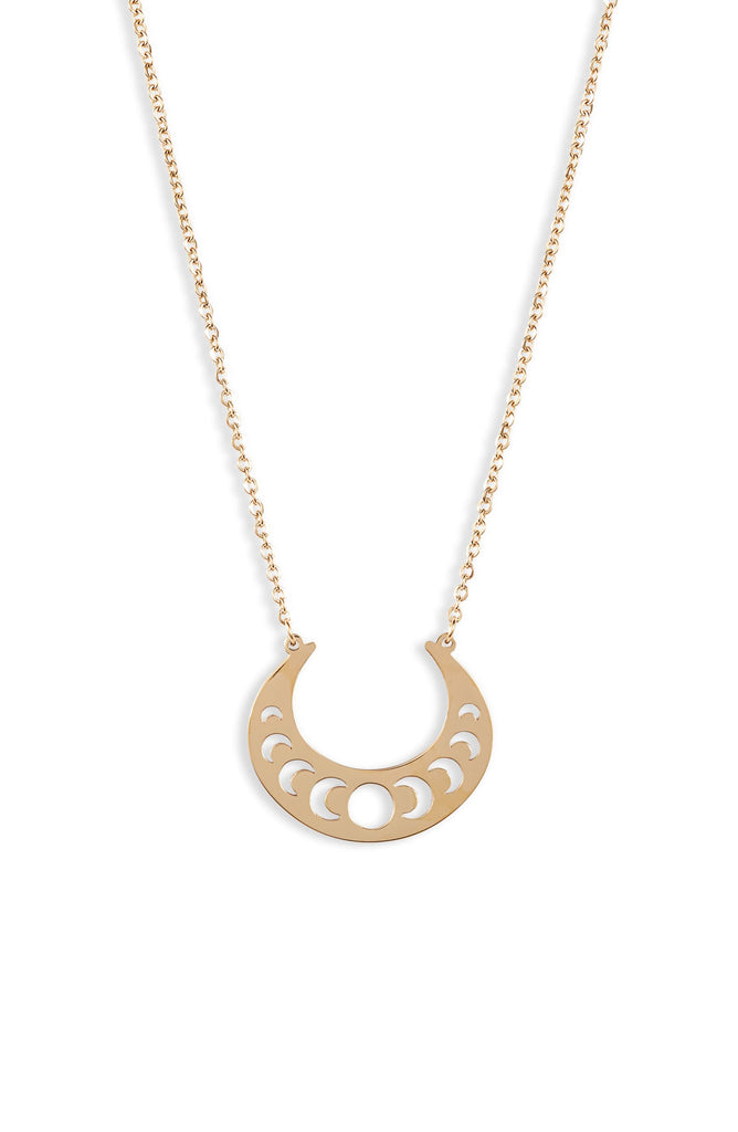Open Crescent Focal Necklace - Gold - Knotty