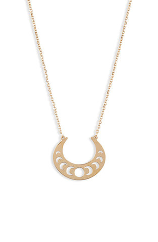 Open Crescent Focal Necklace - Gold