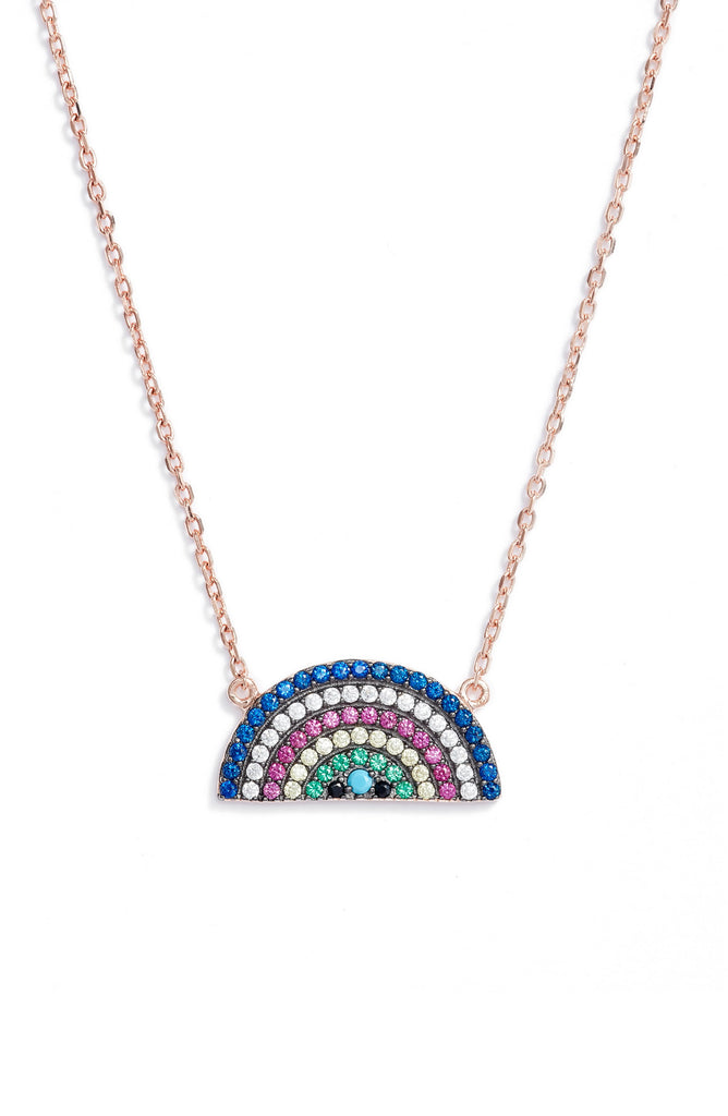 Rainbow Pave Charm Necklace - Knotty