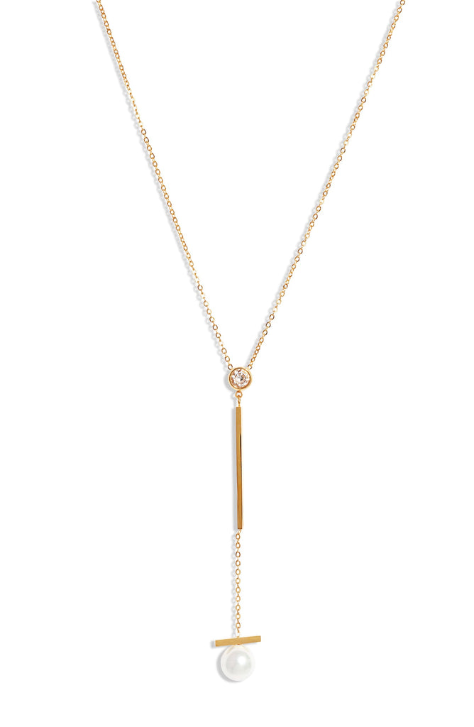 Pearl Bar Drop Necklace - Knotty