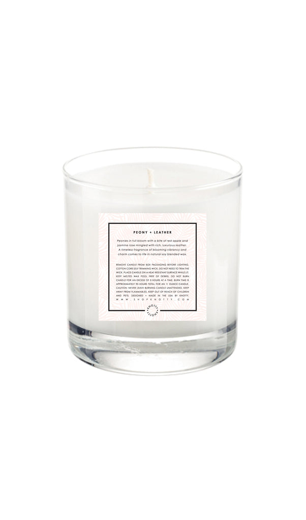 Soy Candle | Peony + Leather - Knotty