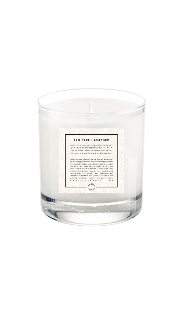 Soy Candle | Rose Wood + Cardamom - Knotty