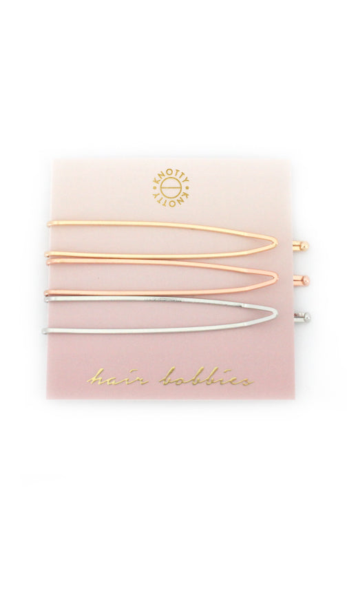 Switchback Hair Bobbies  |  Gold/Rose Gold/Rhodium - Knotty
