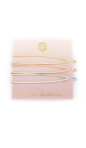 Switchback Hair Bobbies  |  Gold/Rose Gold/Rhodium