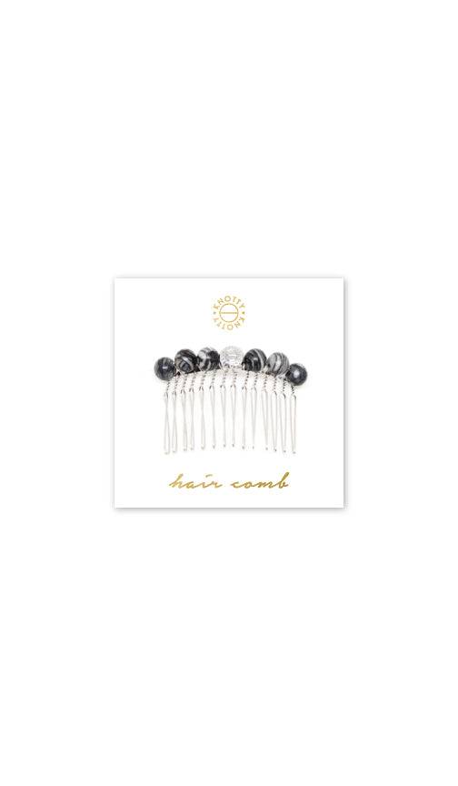 Tessa Hair Comb | Black Silk Stone/Rhodium - Knotty