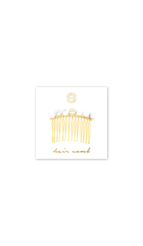 Tessa Hair Comb | White Howlite/Gold