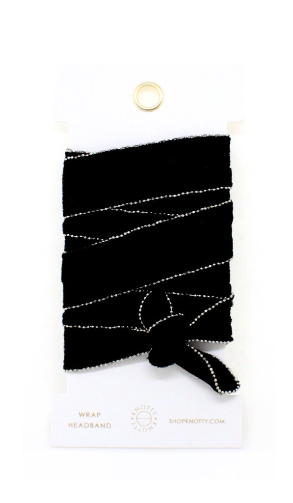 Velvet Convertible Wrap Headband | Black