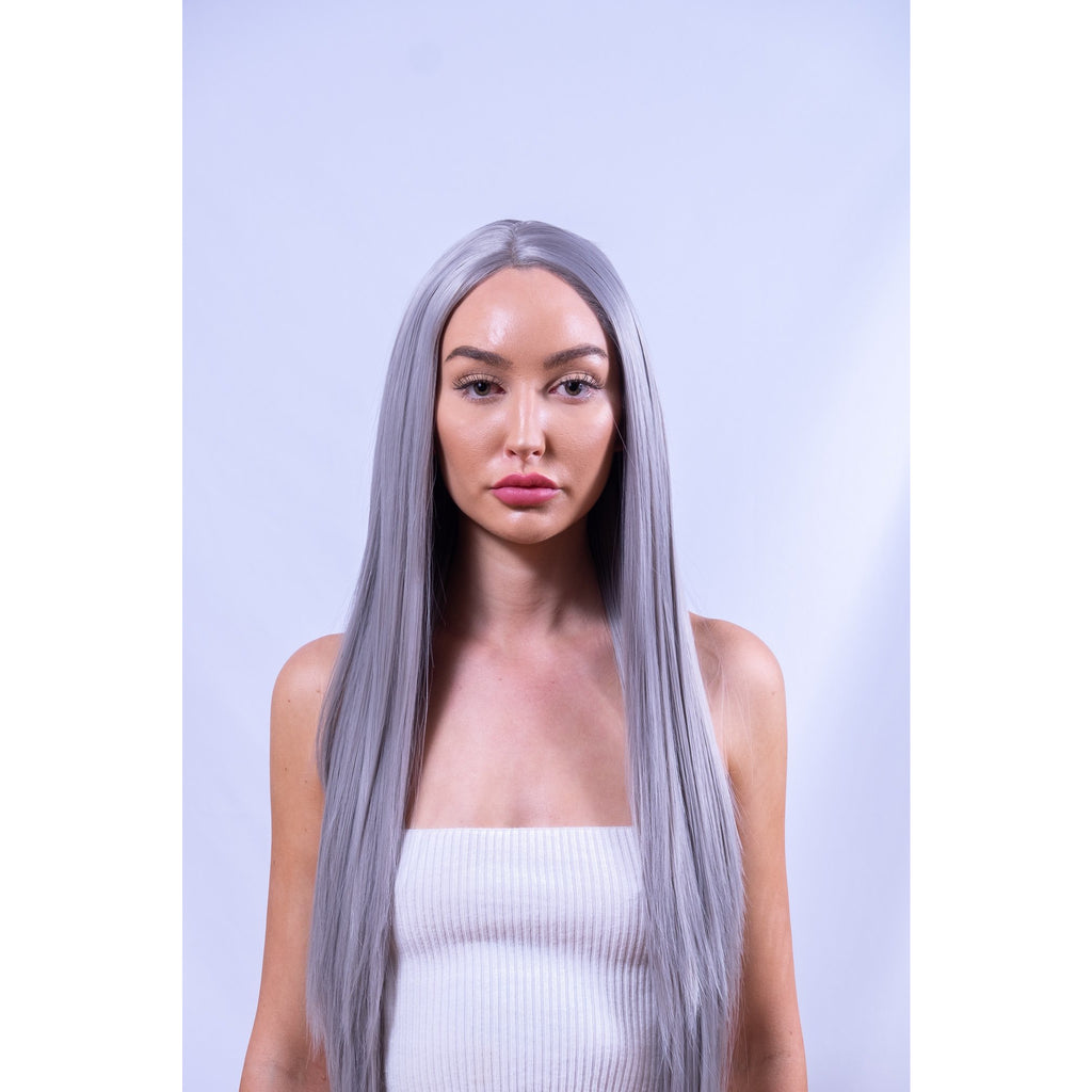 Long Silver Front Lace Synthetic Wig Australia