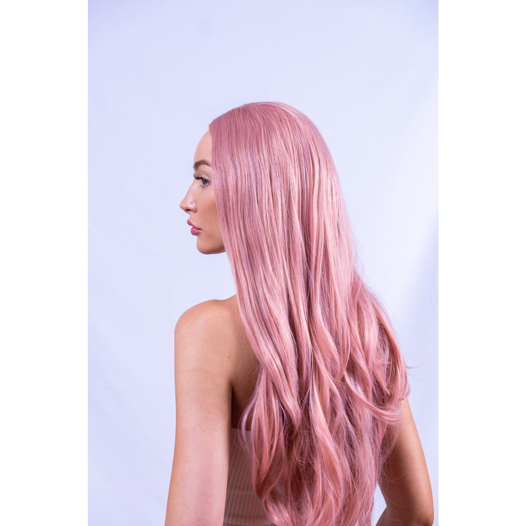 Long Synthetic Lace Front Pink Musk Wig Curly