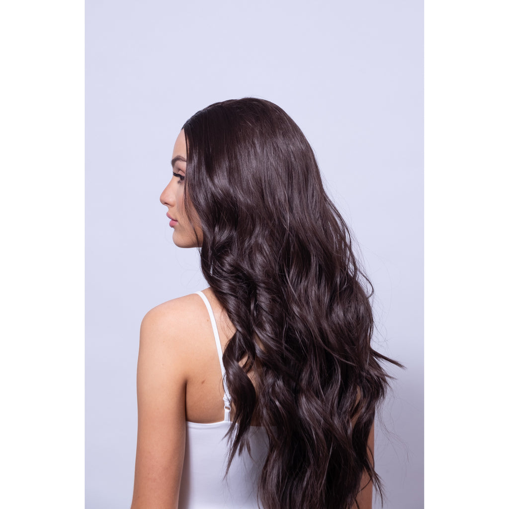 long curly brown synthetic wig