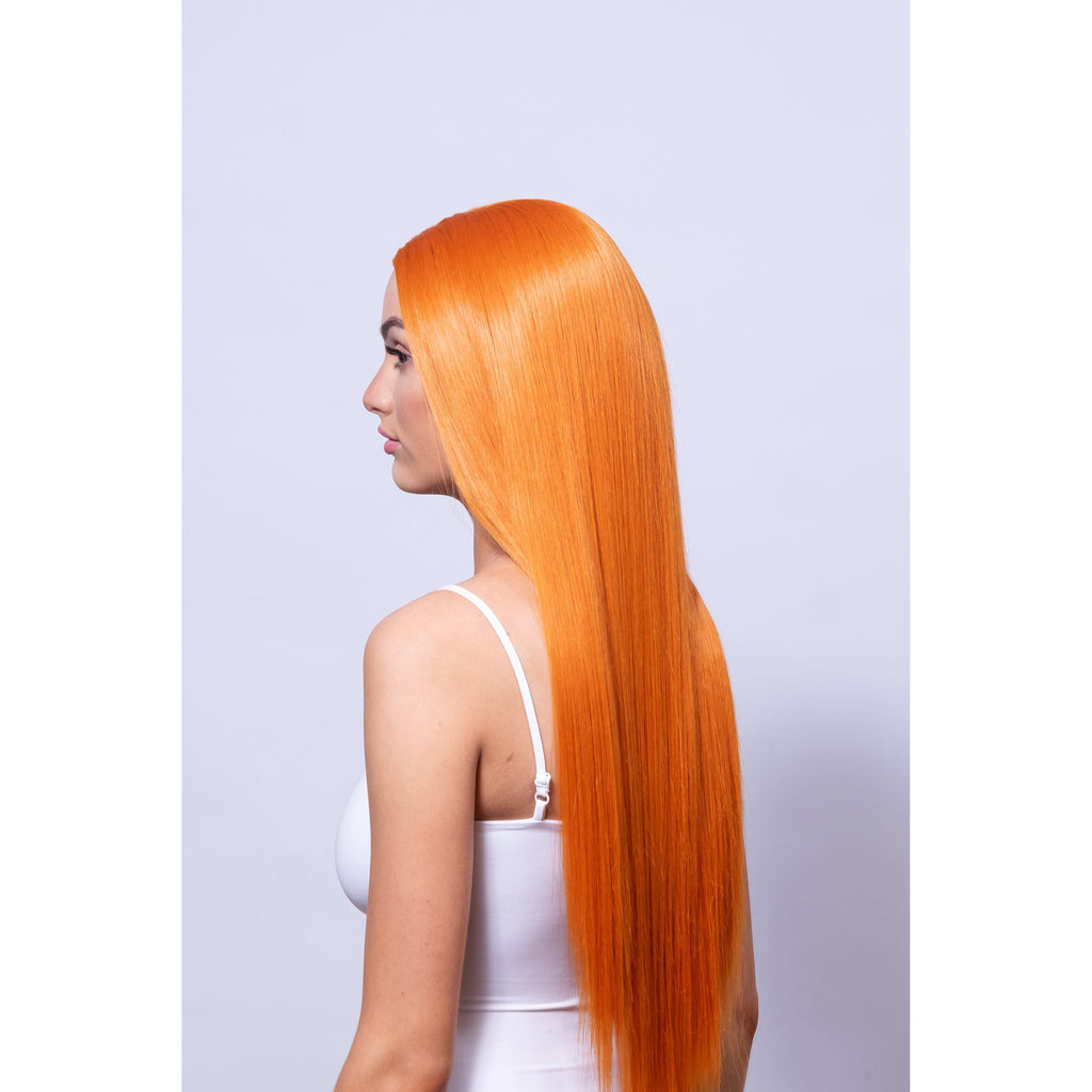 nice orange synthetic wig long