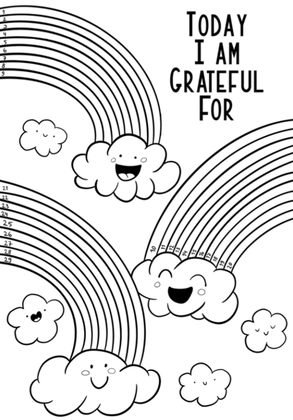Happy Clouds w/ Rainbows Gratitude Log