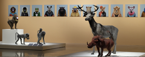 Installation photo of the exhibition Let's Dance! Animals in Art, Chimei Museum, Taiwan, including several Zoo Portraits and sculptures by Kendra Haste.