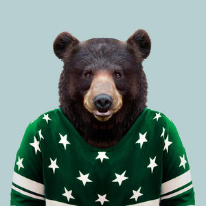 Liam, the American black bear, from the Zoo Portraits animal art series created by Yago Partal. This anthropomorphic artwork is a mix of photography, illustration and collage.