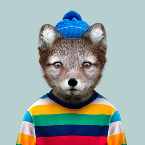 Otto, the Arctic fox, from the Zoo Portraits animal art series created by Yago Partal. This anthropomorphic artwork is a mix of photography, illustration and collage.