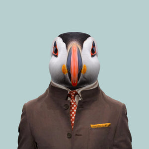 Alek, the Atlantic puffin, from the Zoo Portraits animal art series created by Yago Partal. This anthropomorphic artwork is a mix of photography, illustration and collage.