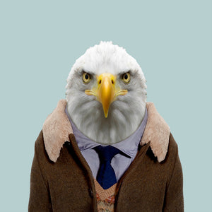 John, the bald eagle, from the Zoo Portraits animal art series created by Yago Partal. This anthropomorphic artwork is a mix of photography, illustration and collage.