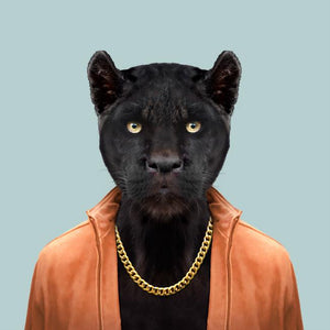Cesar, the black panther, from the Zoo Portraits animal art series created by Yago Partal. This anthropomorphic artwork is a mix of photography, illustration and collage.