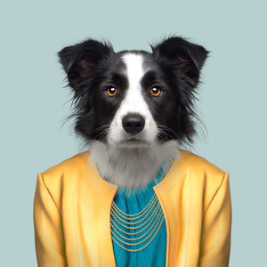 An image of a border collie, in a yellow jacket and blue top, staring straight at the camera. This image is created by Spanish artist Yago Partal, as part of his Zoo Portraits series of animal art.