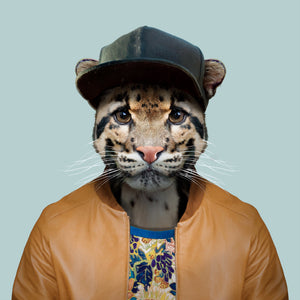 A clouded leopard, wearing a cap, bright shirt and bomber jacket, staring straight at the camera. This image is created by Spanish artist Yago Partal, as part of his Zoo Portraits series of animal art.